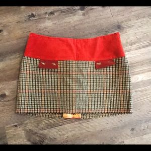 HOLLAND COOPER Wool silk and suede skirt